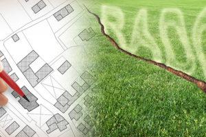 Cadastre, radon, faille